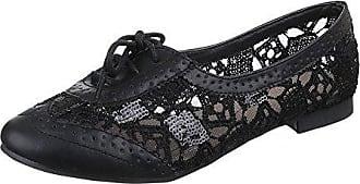 Damen Schuhe, L5107, Halbschuhe, Ballerinas Schnürer, Synthetik in Hochwertiger Lederoptik, Schwarz, Gr 37 Ital-Design