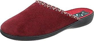 Ital-Design Hausschuhe Damen-Schuhe Pantoffeln Pantoffel Freizeitschuhe Weinrot, Gr 40, 20914-