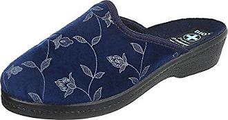 Ital-Design Hausschuhe Damen-Schuhe Pantoffeln Pantoffel Klettverschluss Freizeitschuhe Grau, Gr 36, 22700-