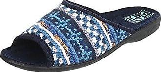 Ital-Design Hausschuhe Damen-Schuhe Pantoffeln Pantoffel Freizeitschuhe Blau, Gr 36, 8618-