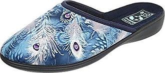 Ital-Design Hausschuhe Damen-Schuhe Pantoffeln Pantoffel Freizeitschuhe Blau Multi, Gr 41, 22344-