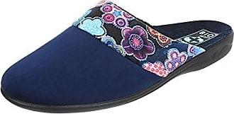 Ital-Design Hausschuhe Damen-Schuhe Pantoffeln Pantoffel Freizeitschuhe Dunkelblau, Gr 40, 20917-