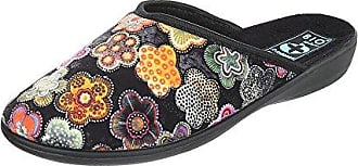 Ital-Design Hausschuhe Damen-Schuhe Pantoffeln Pantoffel Freizeitschuhe Blau Multi, Gr 38, 20787-