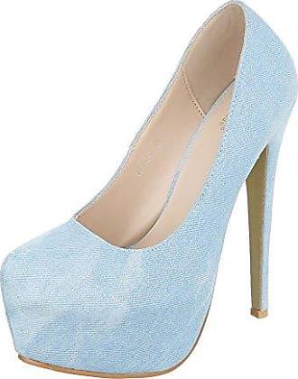 Klassische Pumps Damen-Schuhe Klassische Pumps Pfennig-/Stilettoabsatz High Heels Pumps Hellblau, Gr 38, 5015-104Lf Ital-Design
