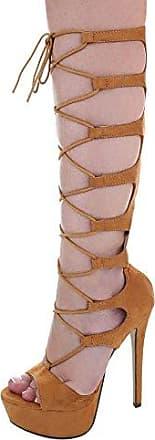 Ital-Design High Heel Sandaletten Damen-Schuhe High Heel Sandaletten Pfennig-/Stilettoabsatz High Heels Reißverschluss Sandalen & Sandaletten Camel, Gr 41, Xk-0045-