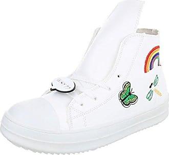 Ital-Design High-Top Sneaker Damen-Schuhe High-Top Sneakers Schnürsenkel Freizeitschuhe Weiß, Gr 39, 89-101-