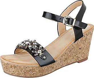 Keilsandaletten Damen-Schuhe Keilabsatz Wedge Keilabsatz Schnalle Sandalen    Sandaletten Beige Multi, Gr 597608f8c0