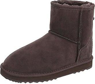 Klassische Stiefeletten Leder Damen-Schuhe Schlupfstiefel Warm Gefütterte Stiefeletten Dunkelbraun, Gr 39, 18009B Ital-Design