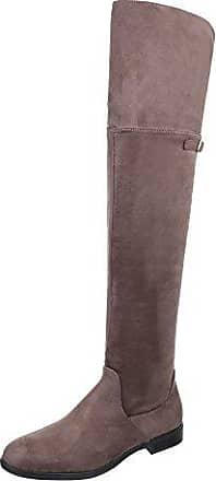 Ital-Design Overknees Damen-Schuhe Klassischer Stiefel Keilabsatz/Wedge Keilabsatz Reißverschluss Stiefel Grau, Gr 40, 0-68-
