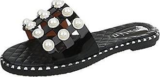 Pantoletten Damen-Schuhe Blockabsatz Sandalen & Sandaletten Schwarz, Gr 37, 603 Ital-Design