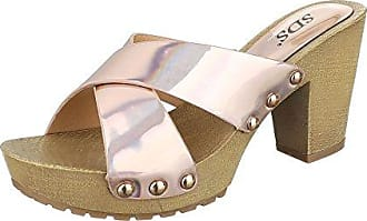 Pantoletten Damen Schuhe Jazz & Modern Pump Nieten Besetzte Sandalen/Sandaletten Champagner, Gr 36, 1334-Gl Ital-Design