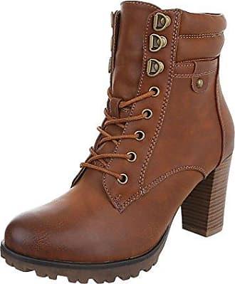 Ital-Design Schnürstiefeletten Damen-Schuhe Schnürstiefeletten Pump Schnürer Reißverschluss Stiefeletten Camel, Gr 36, Bq8-Kb-