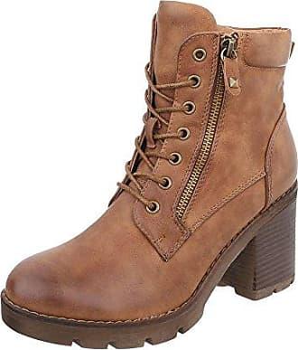 Ital-Design Schnürstiefeletten Damen-Schuhe Schnürstiefeletten Blockabsatz Schnürer Reißverschluss Stiefeletten Camel, Gr 37, 977-Pa-