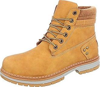 Damen Schuhe Stiefeletten Schnürer Boots Camel 38 lNtr1