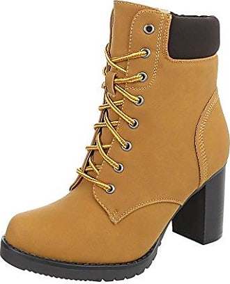 Ital-Design Schnürstiefeletten Damen-Schuhe Schnürstiefeletten Blockabsatz Schnürer Reißverschluss Stiefeletten Camel, Gr 40, Bb2025-Kb-