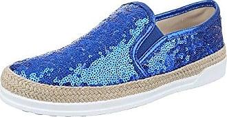 Slipper Damen Schuhe Low-Top Pailetten DEKO Halbschuhe Blau, Gr 39, 50701 Ital-Design