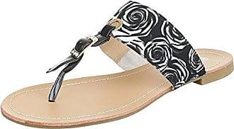 Ital-Design Zehentrenner Damen-Schuhe Peep-Toe Blockabsatz Zehentrenner Sandalen/Sandaletten Weiß Multi, Gr 41, Fc-C203-