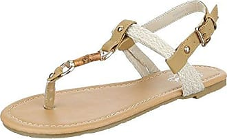 Ital-Design Zehentrenner Damen-Schuhe Peep-Toe Blockabsatz Zehentrenner Sandalen/Sandaletten Weiß Multi, Gr 37, Fc-C203-