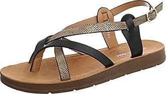 Ital-Design Zehentrenner Damen-Schuhe Schnalle Sandalen & Sandaletten Weiß, Gr 41, 3703-