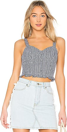 Printed Strapless Ruffled Crop Top in Blue. - size M (also in L,S,XS) J.O.A.