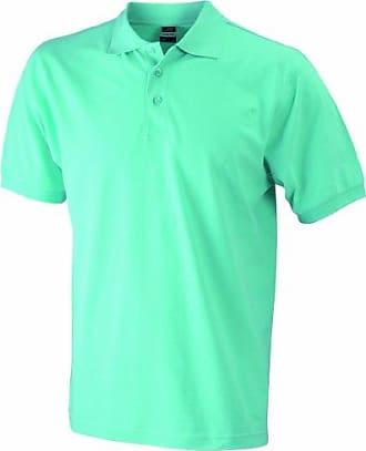 JAMES & NICHOLSON Funktionspolo Elastic - Polo Homme, Bleu (aqua/white) - Large (Taille fabricant: Large)