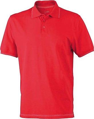 deportiva para hombre Polo de manga corta elástica Rojo rojo, blanco Talla:xx-large James & Nicholson