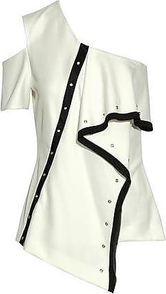 Jason Wu Woman One-shoulder Georgette-trimmed Eyelet-embellished Cady Top Ivory Size 10 Jason Wu jVV0ca