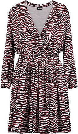 Just Cavalli Woman Wrap-effect Printed Satin-jersey Mini Dress Red Size 40 Just Cavalli Find Great For Sale The Cheapest Fashion Style Cheap Price Marketable Cheap Price GFAvk