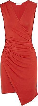 Kain Woman Juno Wrap-effect Ruched Stretch-modal Dress Crimson Size XS Kain pUmCH7wulh