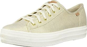 Keds Triple Hibiscus Natrual / Gold, Schuhe, Flache Schuhe, Stoffschuhe, Grau, Beige, Female, 36