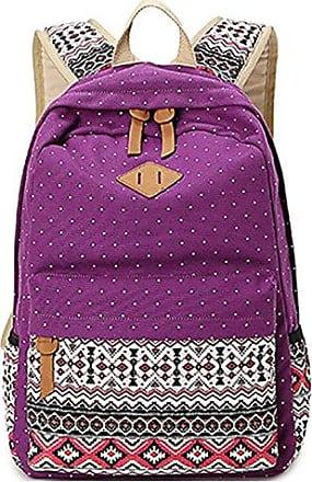 Student Taschen Koreanischen Casual Rucksack Leinwand Druck Outdoor-Umhängetasche Tasche,Purple-OneSize BFMEI