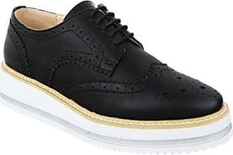 Damen Brogues Schnürer Dandy Halbschuhe Lack Plateauschuhe Keilabsatz Metallic 021 (40, Schwarz) King Of Shoes