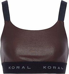 Koral Woman Coated Stretch Sports Bra Chocolate Size L Koral Free Shipping 2018 Sqr6oaKH