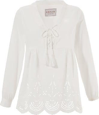 Damen Trachtenbluse Damen mit Lochstickerei, weiß, 100% Baumwolle Krüger Collection