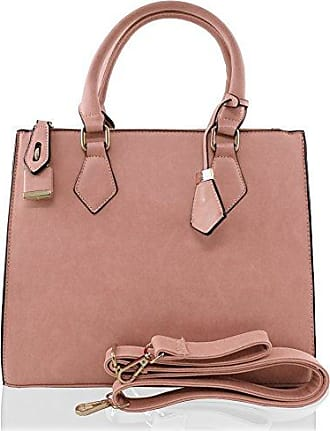 PROFESSIONAL PLAIN FAUX LEATHER DESIGNER LARGE HANDBAG - CORAL PINK Kukubird bBGac