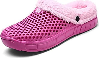 Unsex-Erwachsene Pantoffeln Halbe-Geschlossene Hohl Wärme Leichte Anti-Rutsch Herren Damen Clogs Weiß 38 EU Hausschuhe elhoRH