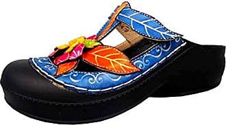 Laura Vita JD5868-6 Dragon 06 Schuhe Damen Clogs Pantoletten, Schuhgröße:41;Farbe:Lila