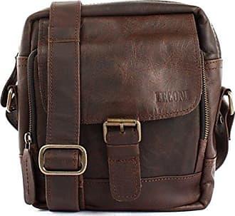 Umhängetasche für Damen Schultertasche Freizeittasche Damentasche Frauen Ledertasche Handtasche Vintage-Style Leder 36x27x8cm schwarz LE3050-wax Leconi QtcynU