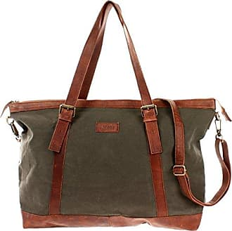 Weekender Canvas Rindsleder Reisetasche XL Shopper Damen Herren Retro Look 50x36x15cm bordeaux LE2013-C Leconi TW1m2V