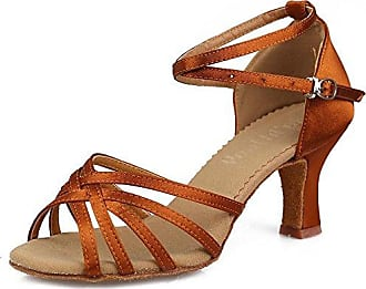 YFF Women's Ballroom Latin Tango Salsa Dance Schuhe Heels Satin Sandalen, 5 cm Braun, 6.