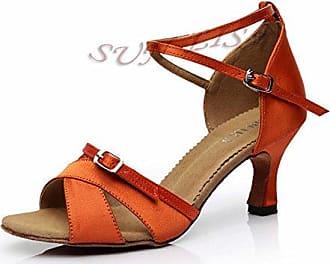 YFF Women's Lady's Girl's Schuhe mit hohen Absätzen tanzen Salsa Tango Ballroom Latin Dance Schuhe,Schwarz 46 mm Absatz,9.