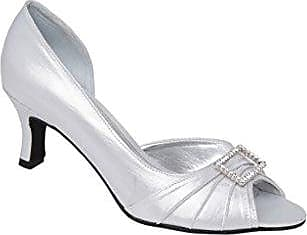 Ladies Medium Heel Peep Toe Court Shoe with Extravagant Diamante Trim in Metallic Grey Lexus ybb18