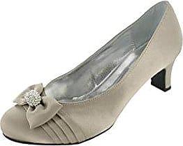 Ladies Lexus Medium Heel Wide E Fitting Satin Court Shoes with Closed Toe, Bow and Elegant Diamante Trim Lexus