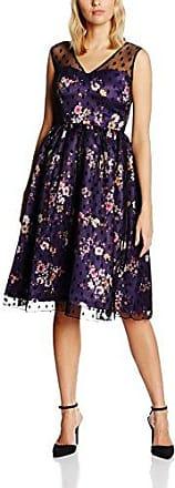Lindy Bop Aliza Floral Black, Vestido para Mujer, Morado (Purple), 36