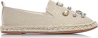 LIU JO - Beige Espadrille aus Stoff, seitlich elastische Einsätze, dekorative Steine auf der Vorderseite, genähtes Logo, Zwischensohle, Mädchen, Damen-36