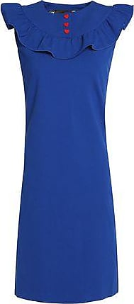 Love Moschino Woman Button-detailed Ruffled Stretch-jersey Dress Royal Blue Size 40 Love Moschino Ovsyt