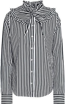 Love Moschino Woman Pussy-bow Ruffle-trimmed Striped Cotton-poplin Shirt Navy Size 48 Love Moschino Best Place Sale Online Discount Recommend nkqsKUSUT