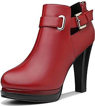 MEI&S Frau Ferse Fersen Plattform, Schuhe, Wein Rot, 36 LSM-Stiefel