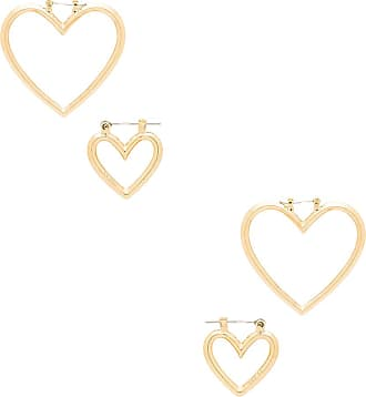 Luv AJ The Heart Hoops Set in Metallic Gold nVhEsjb