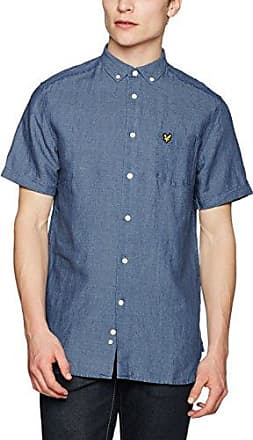 Chest Stripe Shirt, Camisa Casual para Hombre, Azul (Stonewash Blue), Large Lyle & Scott